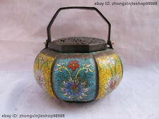 China Classical pure Bronze cloisonne Hand carved Flowers Incense burner censer