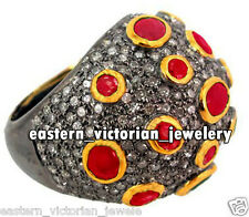 Amazing Vintage 3.67cts Pave Rose Cut Diamond Ruby Silver Cocktails Ring Jewelry