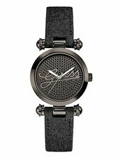 NEW NWT GUESS G LOGO SS BLACK SEQUINS GLITTER LEATHER STRAP LADY WATCH U0057L4