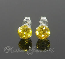 5mm REAL SOLID 925 STERLING SILVER Round Citrine Yellow CZ Earrings Unisex Studs