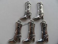 LOT DE 5 BRELOQUES METAL ARGENTE FORME BOTTE - CREATION BIJOUX PERLES CHARMS