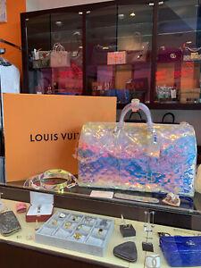 LOUIS VUITTON x Virgil Abloh PVC Keepall Bandoulière 50 Prism Duffle Spring 2019