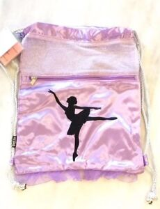 Girls Satin Dance Bag - Lavender Fog Dream Embroidered Dance Bag - New