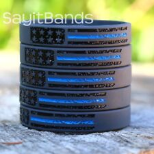 20 Vintage Flag Wristbands Featuring the Thin Blue Line - New Police Bracelets