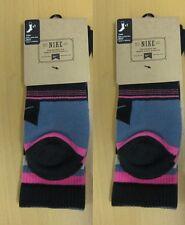 2 Pk Pair NIKE Socks  Pink Grey Black White L Large Mens 8-12 Stripes Crew