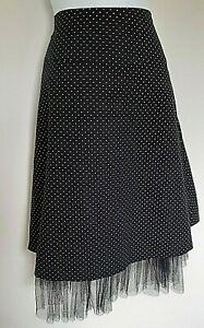 Internacionale Woman's Pink & Black Polka Dot Lined Skirt With Netting - Size 10