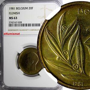 Belgium Baudouin I 1981 20 Francs NGC MS63 Dutch text TOP GRADED KM# 160 (028)