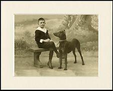 DOBERMAN PINSCHER AND SMALL BOY LOVELY PERIOD STYLE PRINT MOUNTED READY TO FRAME