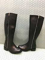 Steve Madden LANE Black Leather Side Zip Knee High Boots Women's Size 6.5 M