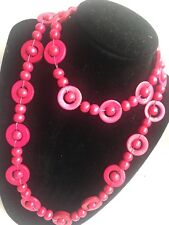 Hot Pink Wooden / Wood Retro Style Long Single Strand Beaded Necklace