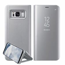 Luxury Mirror Smart Clear Flip Case Cover for Samsung Galaxy S7 Edge S8 Note 8 Samsung S8 Silver