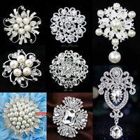 Silver Flower Rhinestone Crystal Diamante Pearl Brooch Wedding Bridal Broach Pin