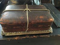 ANTIQUE LEATHER TRAVEL VANITY SET GOLD TONE METAL RARE ALMOST COMPLETE
