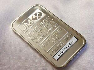 Johnson Matthey JM 1oz Silver Bar 999 Fine Silver Ingot JM Silver