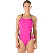 NWT Speedo Vee 2 Colorblock Endurance Lite Womens 10/36 Blazing Pink Swimsuit