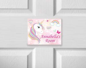 Personalised Unicorn Door Plaque Wooden Vinyl Door Sign