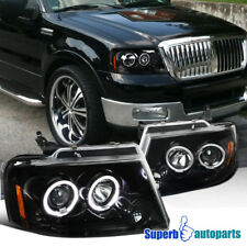 04-08 Ford F150 Dual Halo LED Shiny Black Projector Headlights Front Lamps Pair