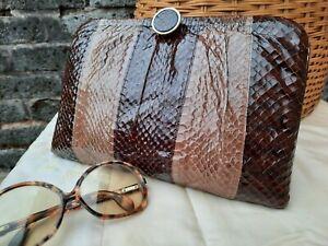 Vtg Original Late 60s Brown Genuine Python Skin & Leather Clutch Shoulder Bag..
