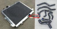 Aluminum Radiator+Black Hose for TOYOTA HILUX KUN16R KUN26R 3.0 Diesel 05-15 AT