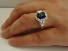 925 STERLING SILVER RING W/ 4.50 CT LAB DIAMOND&TANZANITE /SIZE 5 TO 9 AVAILABLE