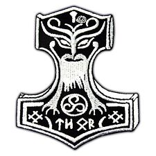 Thor's Hammer Viking Amon Amarth Mjolnir Embroidery Iron On Patch Skins Applique
