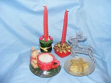 Christmas Candles Tea Light Candle Holders Decorations Reindeer Cup Table Centre
