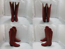 Ladies Red Leather Panhandle Slim Buckaroo Riding Boots Sz: 8 N (#19833 AA)