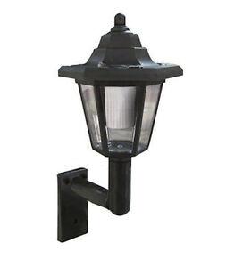 Solar Power Black Wall LED Lantern Lamp Mounted Outdoor Garden Wall Fence x1