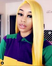 20'' Synthetic Fiber Hair Straight Neon Yellow Lace Front Wig Handtied Full Wigs
