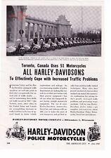 "1947  Vintage Harley Davidson Police Motorcycles ""Toronto, Canada"" Print Advert"
