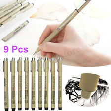 9Pcs Black Fine Liner Ink Drawing Pens Brush Art Painting Sketch Supplies