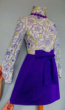 Vintage 1960's Size 10 Mod Psych Scooter Space Age Flower Purple Bow dress 10