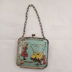 Antique Vintage Alice in Wonderland Small Metal Child Doll Coin Purse Rare