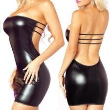 Black Sexy T-Back Rubber UPVC Dress & Lace Mask - Latex PVC Club Wear Womens (L)