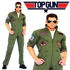 Top Gun Costume Mens Flight Uniform Aviator Fighter Pilot Jumpsuit Fancy Dress