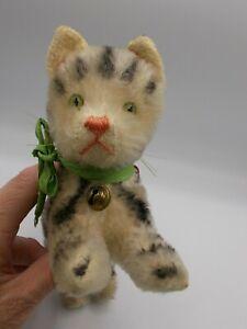 VINTAGE HERMANN TEDDY ORIGINAL STRIPED MOHAIR KITTY KITTEN CAT  ROUND TAG