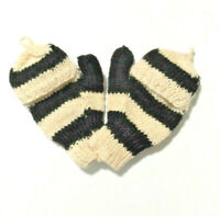 Fingerless Gloves/Mittens Adult Small Size Made In Nepal Wool Black/Cream Stripe