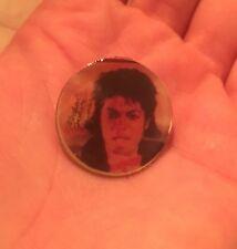 Vintage 1980s Michael Jackson Thriller Metal Pin Round Original Packaging Enamel