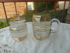 VINTAGE GREEN AND GOLD STRIPED GLASS JAM  HONEY DISH AND MUG