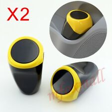 2pcs Universal Auto Trash Dust Rubbish Bin Can Cup Holder Inner Accessory Yellow