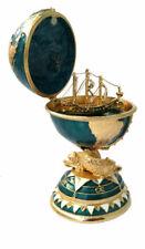 Réplique œuf de Fabergé vert et Or navire fabrication artisanale