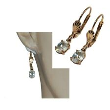 Latch Back Earrings Gold Plated 18 Carat Zirconium White Jewel