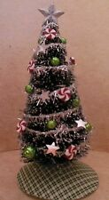 Dollhouse Miniature Handcrafted Swirled Pepermint Christmas Tree Green Silve1:12