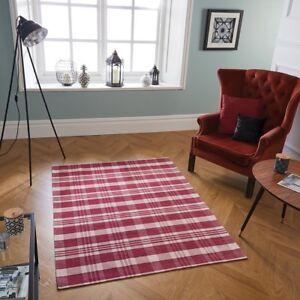 Cottage Red Tartan Checked Anti-Slip Rug Hall Runner Doormat Flatweave Country