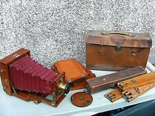 ANTIQUE LANCASTER INSTANTOGRAPH FOLDING CAMERA WITH ANTIQUE TRIPOD & PLATES