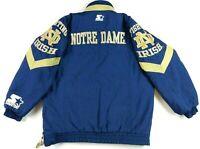 VTG 90s Starter Mens Notre Dame Fighting Irish Football Puffer Jacket Small