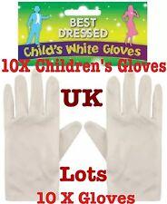I bambini guanti bianchi corti Mago Guanti Bambini Unisex Uk LOTTO 10x Guanti