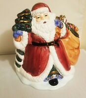 "Home for the Holidays Santa Claus Cookie Jar w/Toy Bag & Christmas Tree 10"" Tall"