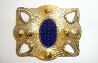 Antique Aesthetic Art Nouveau Gilt Sash Brooch Pin Deep Cobalt Glass Bumpy Cab