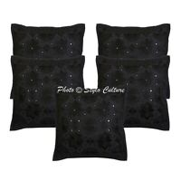 Indian Sofa Cushion Covers Black 16x16 Embroidered Cotton Mirrored Pillow Cases
